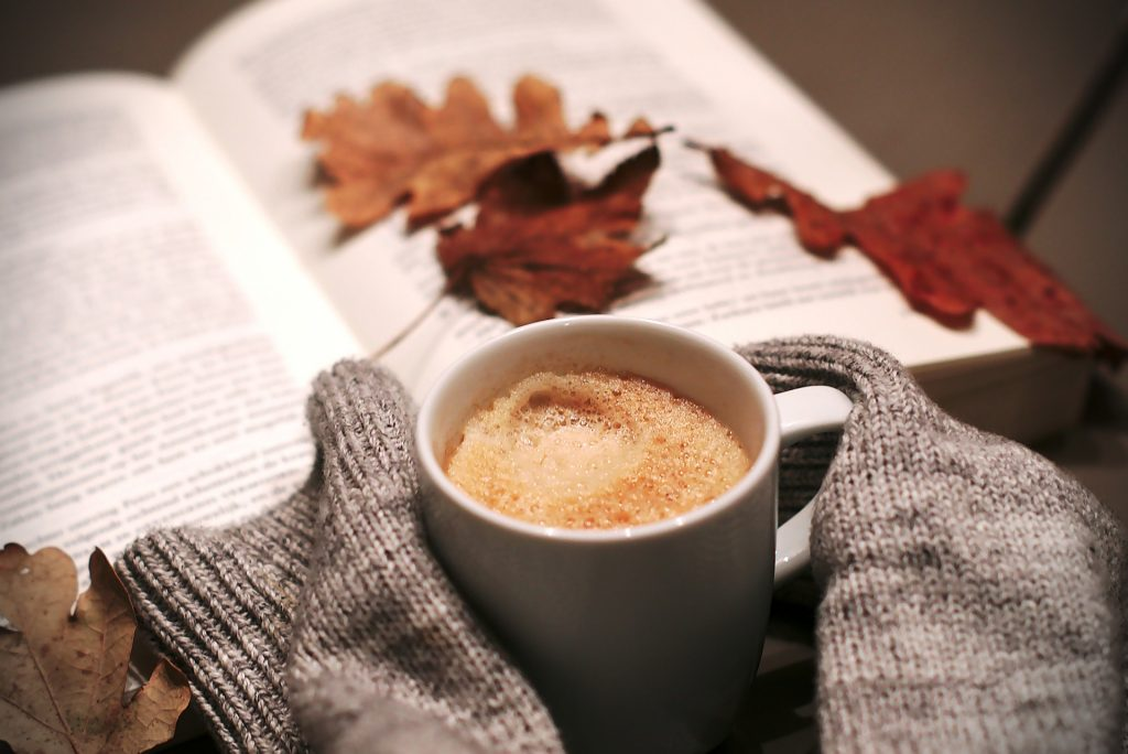 coffee book and leaves